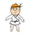 Karate cartoon kid red head with black belt vector image vector image