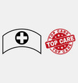 line medical cap icon and grunge top care vector image vector image