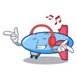 listening music zeppelin mascot cartoon style vector image