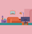 living room interior set with sofa bookshelves vector image vector image