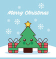 merry christmas kawaii tree pine and gifts snow vector image