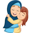 muslim mother hugging her daughter vector image vector image