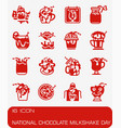 national chocolate milkshake day icon set vector image