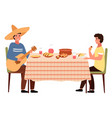 people are eating mexican food the man plays vector image vector image