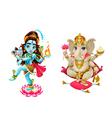representation hindu gods shiva and ganesha vector image