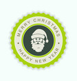 round green emblem with a silhouette of santa vector image vector image