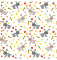 seamless pattern with cute rabbits carrots vector image vector image