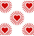 set icons shining heart heart with rays of love vector image