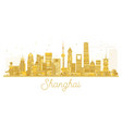 shanghai city skyline golden silhouette vector image vector image