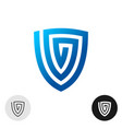 shield logo blue spiral abstract symbol vector image