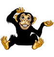 sitting happy cartoon chimp vector image vector image