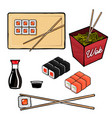 sushi and rolls related items and objects vector image vector image