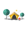 tent with fire and trees camping flat design vector image