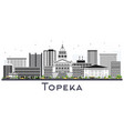 topeka kansas city skyline with gray buildings vector image vector image