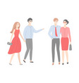 two couples men in shirts and trousers and women vector image vector image