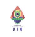 ufo logo original design label with alien vector image