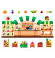 vegetable shop indoor with seller showcase and vector image