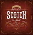 vintage whisky label for bottle vector image vector image