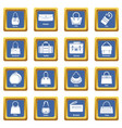 woman bag types icons set blue square vector image