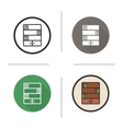 Bookcase flat design linear and color icons set vector image