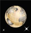 Golden planet earth vector image
