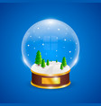 snow globe with christmas trees on blue background vector image