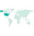 USA on world map vector image