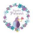 a bird and lovely floral wreath vector image