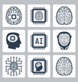 artificial intelligence and robot icon set vector image