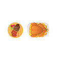 baked turkey with orange and steak outumn food vector image vector image