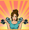 beautiful woman with dumbbells in gym vector image vector image