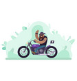 biker man riding bike character on motorcycle vector image vector image
