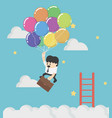 businessman fly up away high on balloon concept vector image vector image