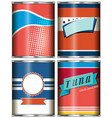 canned food design in red and blue vector image