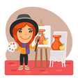 cartoon artist girl and easel vector image vector image