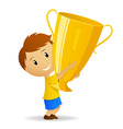 cartoon young winner with golden trophy cup vector image vector image