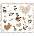 coffee set hearts vector image vector image