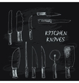 collection kitchen knives vector image