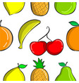 colorful fruit pattern collection style vector image vector image