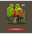 Couple in devils costume Happy halloween holiday vector image