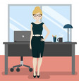 cute secretary at the office with laptop and vector image vector image