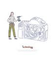 Female technician holding drill girl fixing