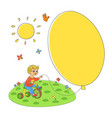 flat boy child riding bicycle air balloons vector image vector image