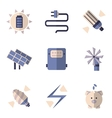 Flat color icons for energy savings vector image