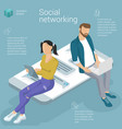 flat design social network template vector image
