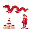 geisha with fan dragon pagoda set vector image