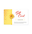 gift card tied gold ribbon and bow two color card vector image