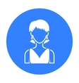 Girl with earrings icon black Single avatar vector image