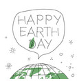 happy earth day in speech balloon with the words vector image