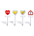 Heart shape road signs - priority etc vector image vector image
